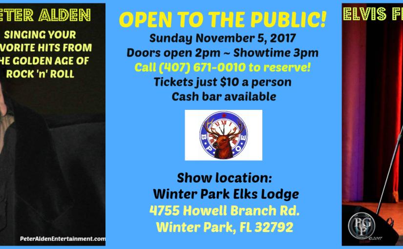 "Winter Park ""Mr. 57"" and Elvis Sunday, November 5, 2017 at 3 PM – 5:30PM"