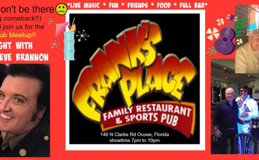 Frank's Place Ocoee with Steve Brannon Wednesday, October 18 at 7 PM – 10 PM