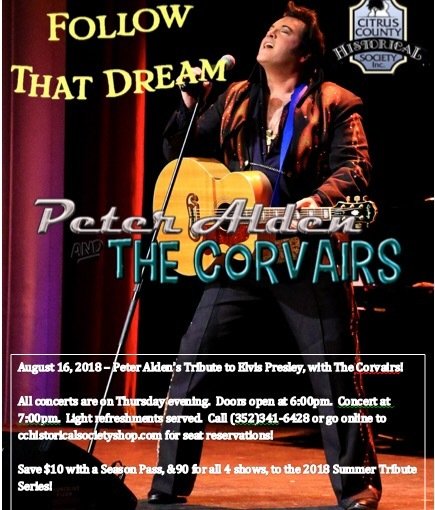 Peter Alden and the Corvairs Concert in The Location Where Elvis Filmed Follow That Dream! August 16th 2018