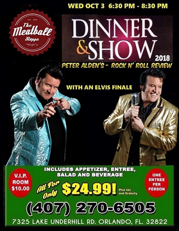 Dinner & Show at the Meatball Shoppe… October 3rd, 2018 6:30-8:30 PM