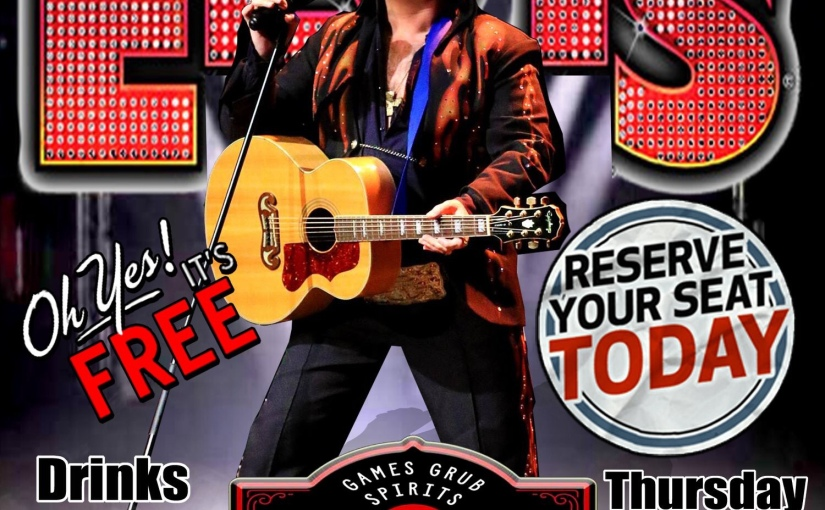 Peter Alden as Elvis at the Red-Eye Tavern… Thursday August 29th2019